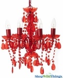 Chandelier Gypsy Red - Small 6 Lights - With Plug