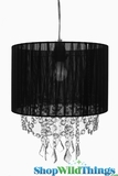 "Chandelier  ""Juliette""  Black Fabric Shade and Crystals 12"" x 13"""