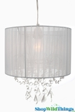 "Chandelier  ""Juliette "" White Fabric Shade and Crystals 12"" x 13"""