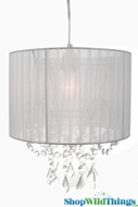 "Chandelier  ""Juliette "" White Fabric Shade and Crystals"