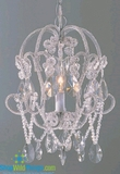 "SALE! Chandelier ""Justine"" 1 Light Beaded Crystal Hanging Lamp- Silver and Crystal"