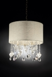 "Chandelier Real Crystals ""Athena"" - Fabric Shade - 18"" Wide"