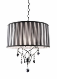 "Chandelier Real Crystals ""Marceau"" -  Black & Silver Shade -  17"" Wide"