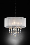 "Chandelier Real Crystals ""Moondance"" - 2 Layer Drum Shades -  21"" Wide"