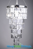 "Chandelier  ""Serena""  w/ Clear Rectangle Crystals -  8"" x 16"""