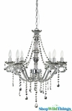 "Chandelier Silver Metallic ""Guinevere"" - 6 Lights - 27"" x 22"""