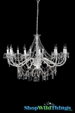 "Chandelier Venezia - 12 Lights Extra Large - White & Crystal - 40"" x 28"""