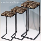CLEARANCE  Cheetah Print Nesting Tables - Set of 3