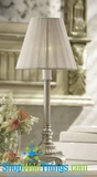 "CLEARANCE-14"" Lamp with Sheer Ribbon Shade - Matte Metallic Silver"