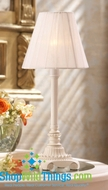 "CLEARANCE-14"" Lamp with Sheer Ribbon Shade - White"