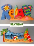 "CLEARANCE-2 Signs, One Price! ""Relax"" and ""Beach"" Word Signs"