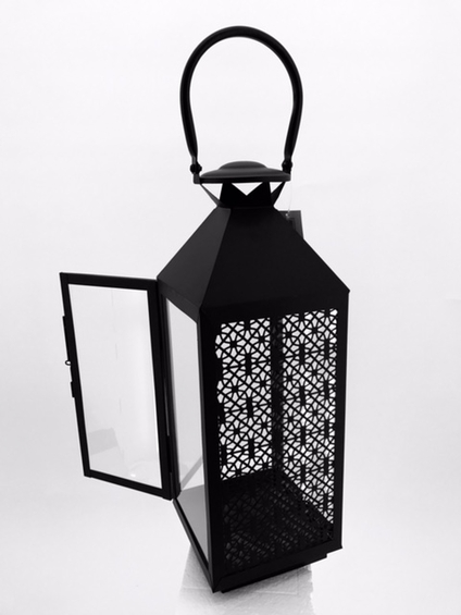 """ONLY 1 AVAILABLE!  CLEARANCE! """"Amelie"""" Decorative Metal Candle Lantern - Black 26"""" Tall"""