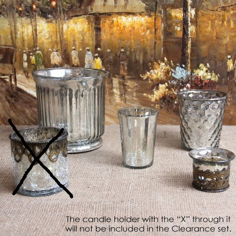 CLEARANCE! Audrey Mercury Glass Candle Holder Set of 4 - Silver