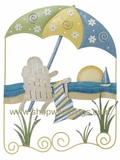 CLEARANCE-Beach Scene Metal Wall Decor - Indoor/Outdoor