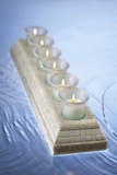 "CLEARANCE-""Beachy Candles""  - 6 Votives in a 18.5"" Mosaic Tray Trimmed With Sand"