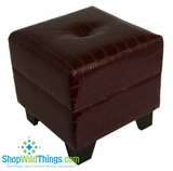 CLEARANCE-Brown Leather Stool With Storage 17""