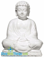 CLEARANCE-Buddha Seated Table Decor - White - Large