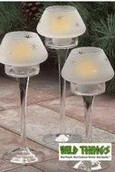 "CLEARANCE-Candle Holder  ""Capella""  Glass 9""  Tall, Set of 4"