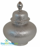"CLEARANCE � Ceramic Covered Silver Urn 15.5"", Tabletop Decor"
