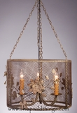 "CLEARANCE-Chandelier - Large 12"" x 16.5"" Vintage Metal Mesh and Flowers ""Elodie"""