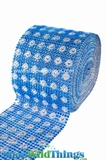 "CLEARANCE Diamond Wrap Rolls - Blue w/ Silver Flowers - 4"" Wide x 30' Long (10 Yards) - Trimmable!"