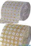 "Diamond Wrap Rolls - Gold & Silver - 4"" Wide x 30' Long (10 Yards) - Trimmable!"