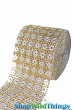 "CLEARANCE Diamond Wrap Rolls - Gold w/ Silver Flowers - 4"" Wide x 30' Long (10 Yards) - Trimmable!"