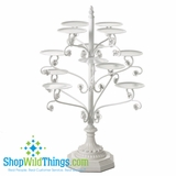 CLEARANCE- Fancy Cupcake Tower - White Iron With Beads (only 1 left!)