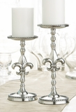 CLEARANCE-Fleur De Lis Pillar Candle Holder Set