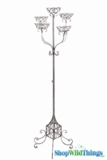 "CLEARANCE - Floral Stand ""Deville"" 60.5"" high - Antique Silver - Holds 5 Pots"