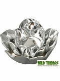CLEARANCE-Flower Candle Holder, Bright Silver