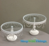 CLEARANCE - Glass Cake Stand - Round - Set of 2 - 1 set available