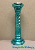 "CLEARANCE - Glass Candle Holder Metallic Turquoise 15.75"" - Limited Quantities Available"