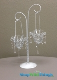 CLEARANCE - Glass & Metal Candle Holder - White - Limited quantites available
