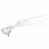 "CLEARANCE! - Glitter Bird Ornament With Clip 15"" - White"