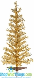"CLEARANCE-Gold (With Silver) Metallic Tinsel Pinetree, 36""  Tall"