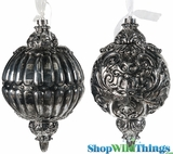 "CLEARANCE! HUGE Platinum Silver Finial Ornaments - Set of 2 - 12"" x 7"" Each!"