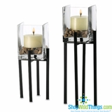 """CLEARANCE-Iron & Glass Pillar Holders with Rocks , Set of 2 ( 15"""" , 12"""" )"""