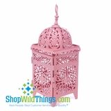 "CLEARANCE-Lantern Metal Luminaria 11"" Tall, Pink"