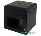 "CLEARANCE-Leather  Ottoman / Seating with Storage 18""  - BLACK"