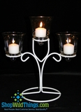 "CLEARANCE- ""Liliana""  Triple Candle Holder - 9"" Tall"