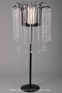 "CLEARANCE-""Lula""  31"" Cascading Crystal Freestanding Candle Holder - Black & Crystals"
