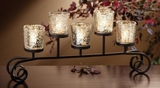 "CLEARANCE-""Magnolia"" Rustic Silver Mercury Glass - 5 Candles"