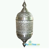 CLEARANCE � Marrackech Moroccan Cylinder Lamp - Silver, Large (2.5 Feet Tall)