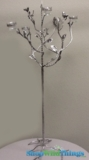 "CLEARANCE - ""Matilda"" Candle Holder Tree, 47"" with Silver Birds, Leaves & Crystals - 1 available"