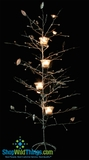CLEARANCE-Metal Leaf Tree w/ 4 Candles - Silver Glitter 33""