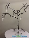 CLEARANCE - Metal Tree 3.7' Black/Bronze w/6 Removeable Glass Tea Lights - 1 available