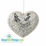 "CLEARANCE!-Mosaic Heart Mirror Ornament - 4"" x 4"" Large, Set of 6"