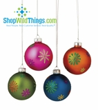 CLEARANCE!-Multi Flower Ball Ornament Set - Glitter and Frosted Glass