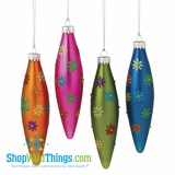 CLEARANCE!-Multi Flower Finial Ornament Set - Glitter and Frosted Glass
